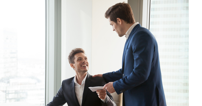 Employee happy to receives salary and payslip