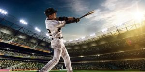 Baseball Player Swinging Bat Three Strikes